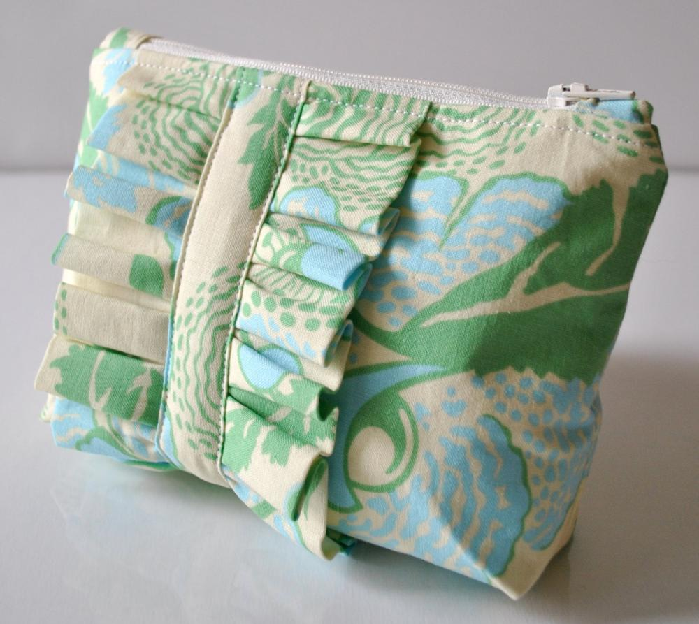 Amy Butler cosmetics make up bag ruffle blue and green abstract florals UK Handmade