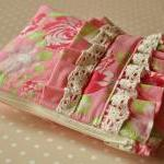 Cosmetics purse Rose garden UK Handmade pink and green make up bag inTanya Whelan Darla rose fabric with ruffle and trim