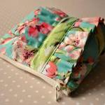 make up bag Tropical garden UK Handmade cosmetics purse in Amy Butler Bliss Bouquet in teal fabric with ruffle